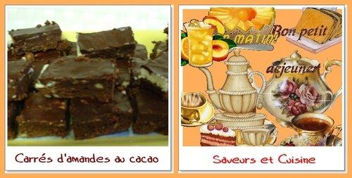 Carrés d'amandes au cacao