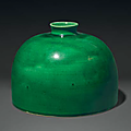 A green-glazed 'beehive' water pot, taibo zun , China, Qing dynasty, 18th-19th century