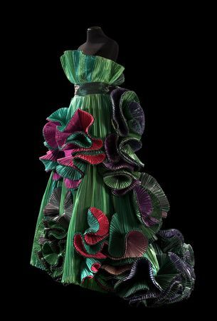 Bougainvillea, 1989. By Roberto Capucci (Italian, b. 1930). Galleria Nazionale d'Arte Moderna Rome. Sculpture-dress, green plissé taffeta, shades of green and cyclamen in the tufts. Claudia Primangeli / L.e C. Service. Courtesy of the Philadelphia Museum o