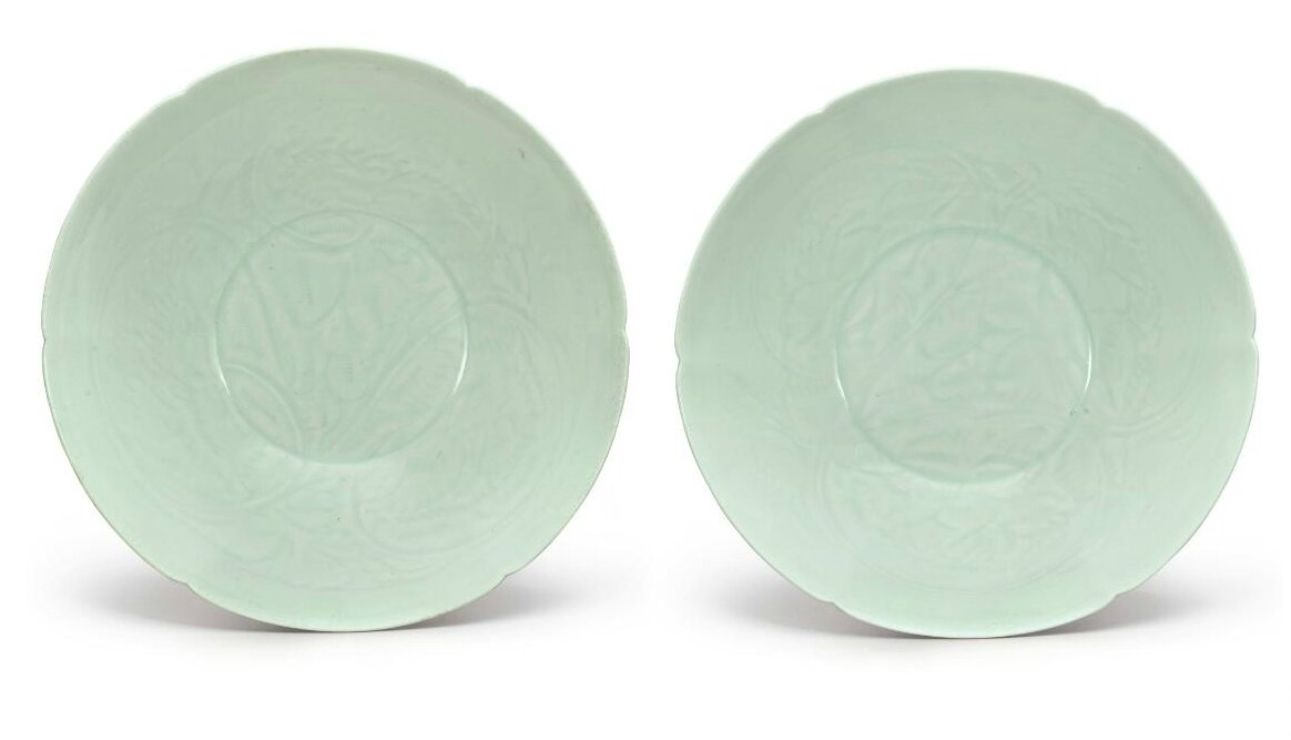 A pair of carved Qingbai 'floral' bowls, Song dynasty (960–1279)