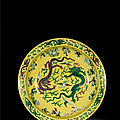 A large green and aubergine yellow ground 'dragon' charger, mark and period of kangxi (1662-1722)