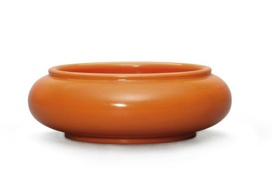 An orange glass brush washer, Qianlong incised four-character mark within a double square and of the period (1736-1795)