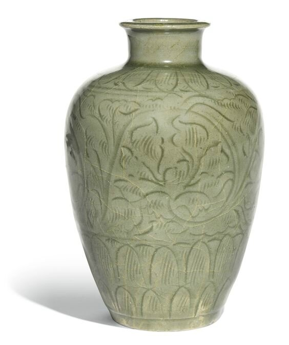 A 'Longquan' celadon carved 'floral' meiping, early Northern Song dynasty