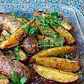 Saucisses de toulouse, pommes de terre rôties, sauce à l'érable et soja