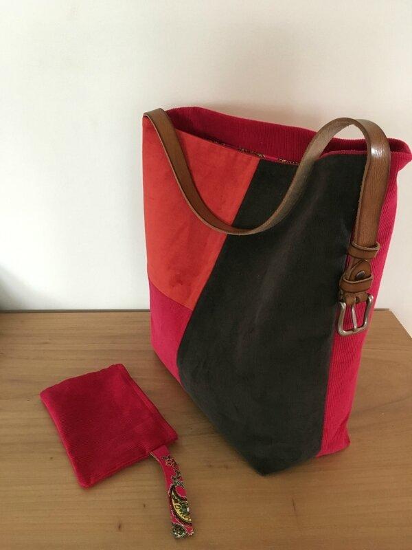 sac velours et cuir
