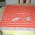 set de table brodé coeur