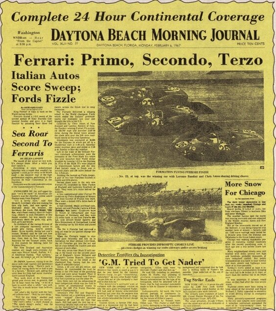 1967-Daytona-412 P_330 P 4_330 P3 4-arrivee-Daytona Morning Journal