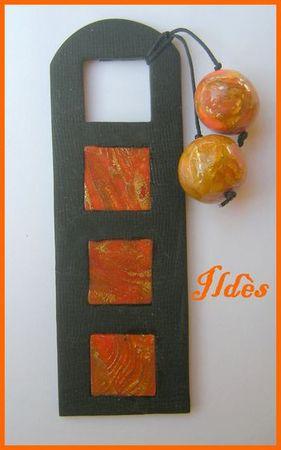fimo marque page carrés mokumé orange noir