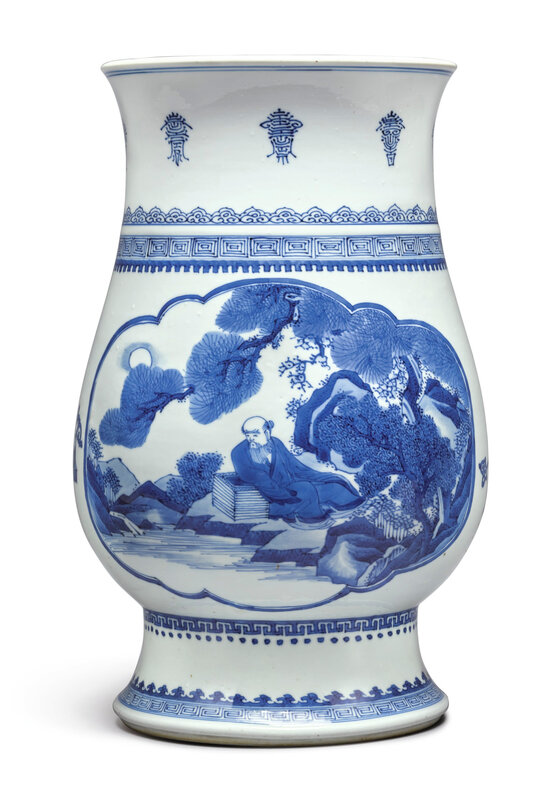 A fine and rare blue and white hu-form vase, Qing Dynasty, Kangxi Period (1662-1722)