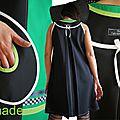 Robe trapèze Créateur graphique Noir Vert de style Arty Printemps 2014