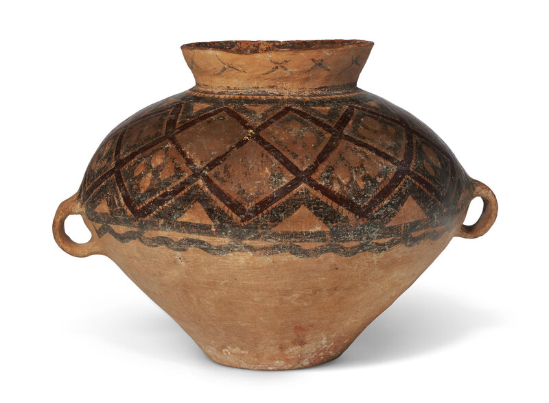 A painted pottery jar, Neolithic period, Yangshao culture, Banshan type, 3rd millenium BC