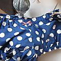 Culotte BIANCA en coton bleu à très gros pois blancs - noeud de vichy rouge (3)