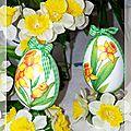 Œufs décorés Pâques déco table jonquilles 4