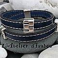 J'ai toujours aimé le bleu marine idéal avec ce bracelet double tour de poignet masculin-féminin en cuir cousu bleu marine
