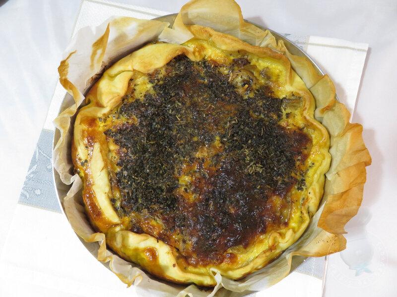 Tarte aux champignons, pécorino et sarriette