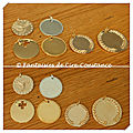 6.Médailles colombe, croix, boules ... argent massif plaqué or