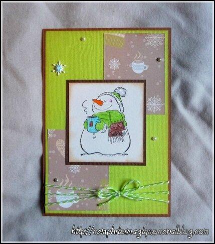 Carte bonhomme de neige à la tisane