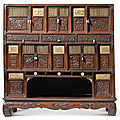 A rare jichimu, hardwood and marine ivory cabinet, qing dynasty, 17th-18th century