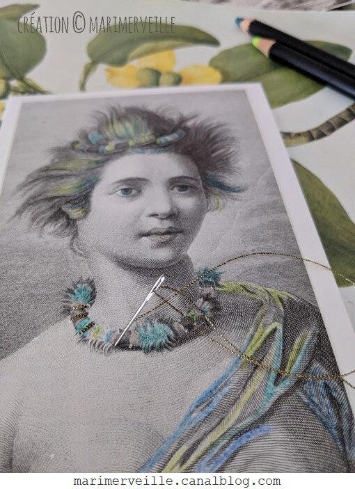 broderie sur gravure colorisée - création marimerveille
