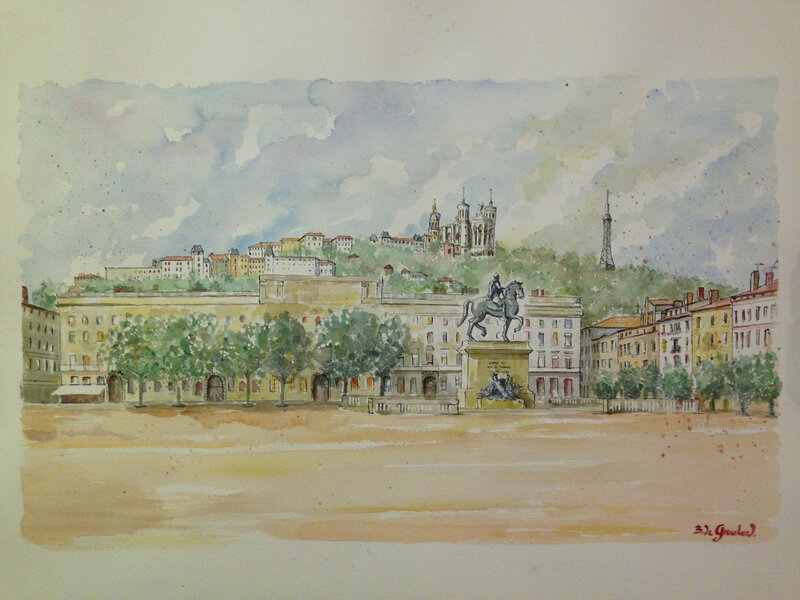 Place Bellecour aquarelle