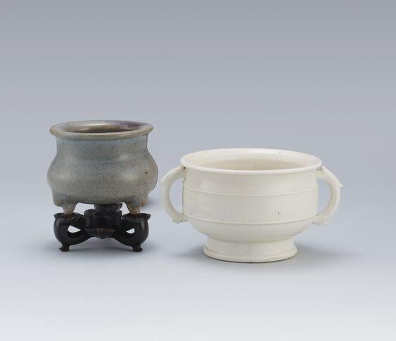 A Blanc-de-Chine Censer and a 'Shiwan' Tripod Censer, Qing Dynasty, 18th Century