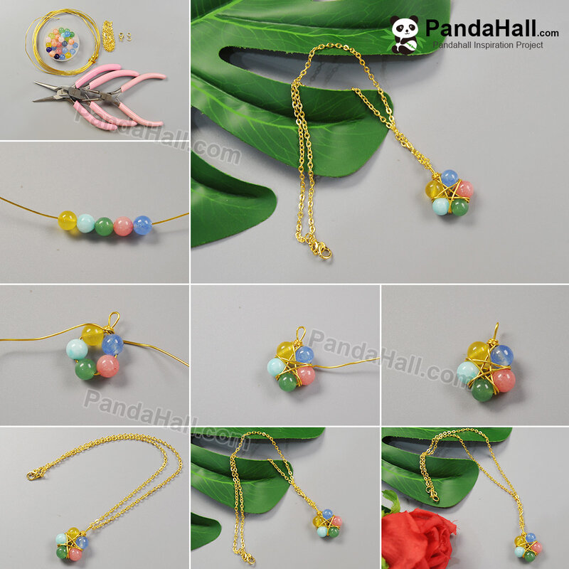 1-1080-PandaHall Idea on Wire Wrapped Jade Bead Pendant