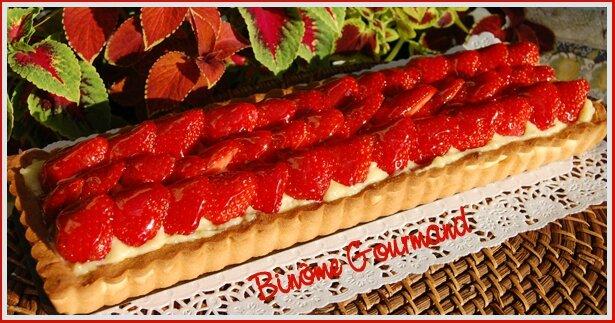 Tarte aux fraises crème aux amandes