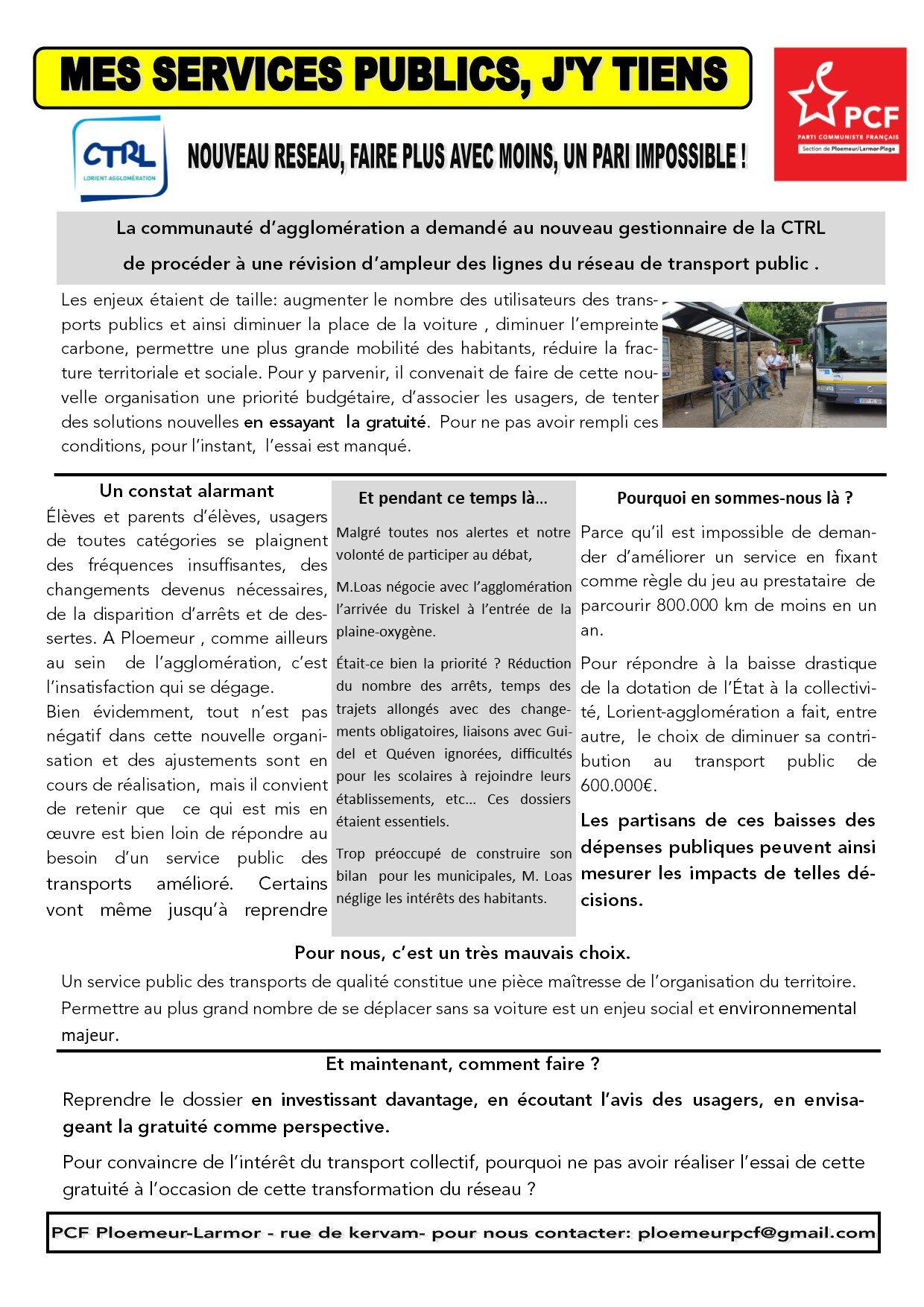 agglo de Lorient, Le transport public, en faire une priorité