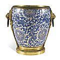 A gilt-bronze mounted blue and white chinese porcelain cachepot, the porcelain kangxi, circa 1700, the mounts, late 19th century