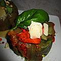 Ballottines d'aubergines garnies de viande et de parmesan