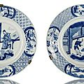 A pair of blue and white, porcelain dishes, China, underglaze blue Kangxi six-character marks and period
