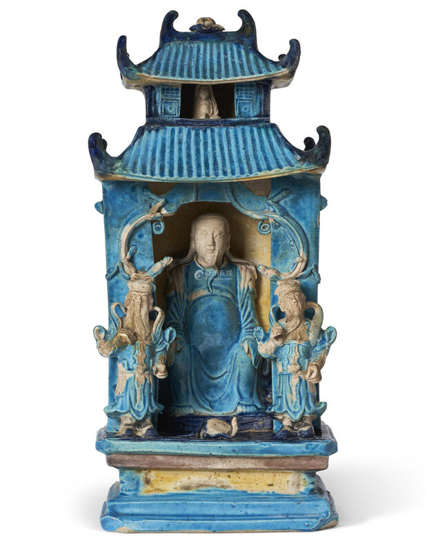 turquoise, dark-blue and ochre-glazed porcelain model of a shrine, Late Ming-Early Qing dynasty