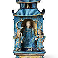 A turquoise, dark-blue and ochre-glazed porcelain model of a shrine, late ming-early qing dynasty
