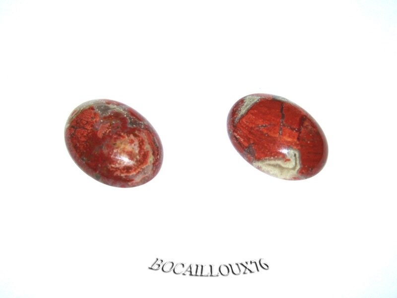 CABOCHON 15x20 JASPE Brèche 12 - Lot de 2 - Pour CREATION