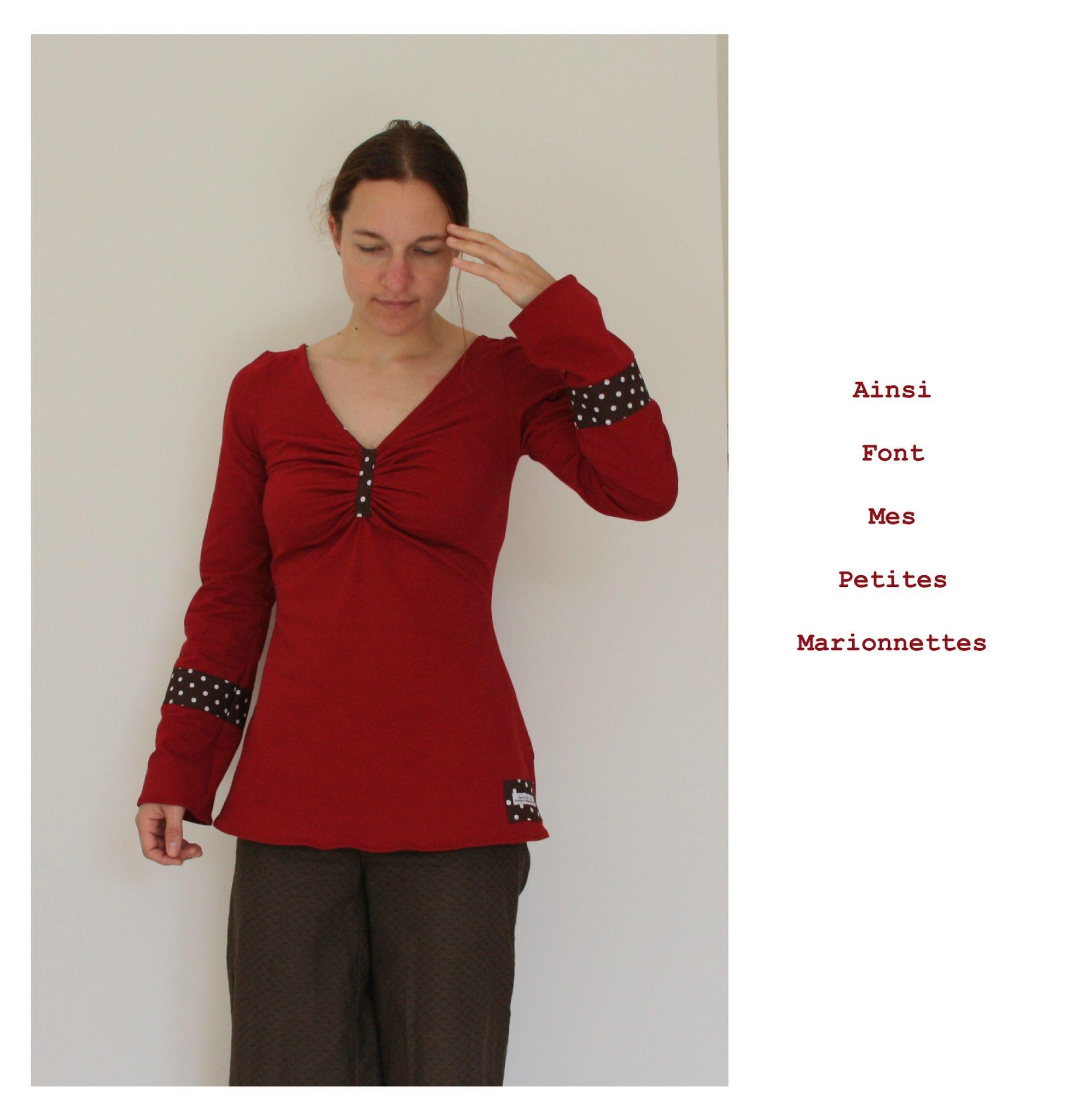 tunique jersey rouge marron pois 8