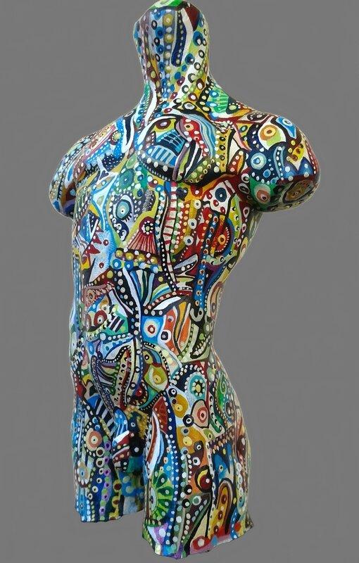 Hervé THAREL SCHMIMBLOCK'S tartie's bust3 2015 - acrylique sur buste terre cuite by TARTIE ±14x8cm 02detoure