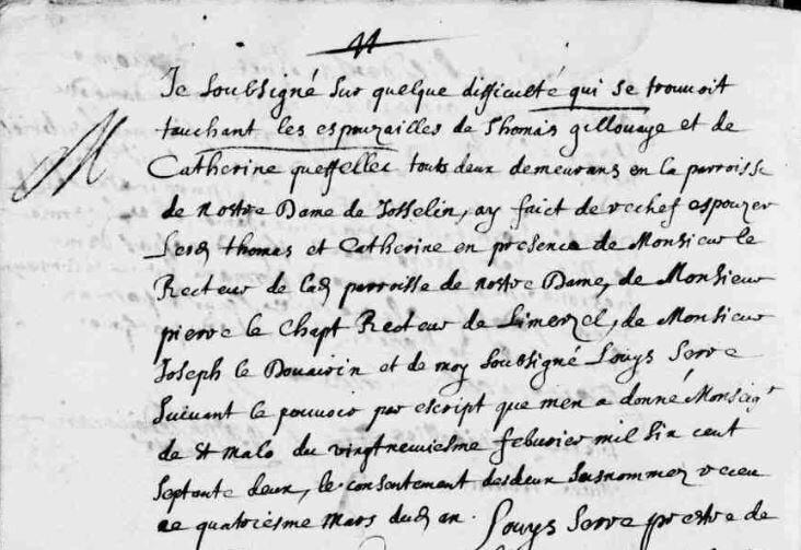 1672 le 4 mars mariage de Catherine Queffellec et Thomas Gillouaye_1