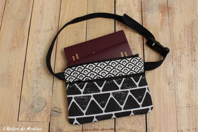 porte monnaie ceinture femme noir et blanc
