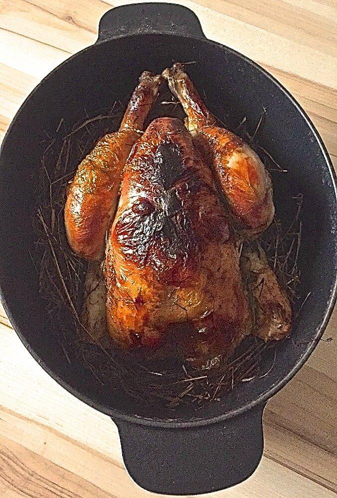 poulet rôti au foin