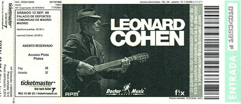 2009 09 Leonard Cohen Billet