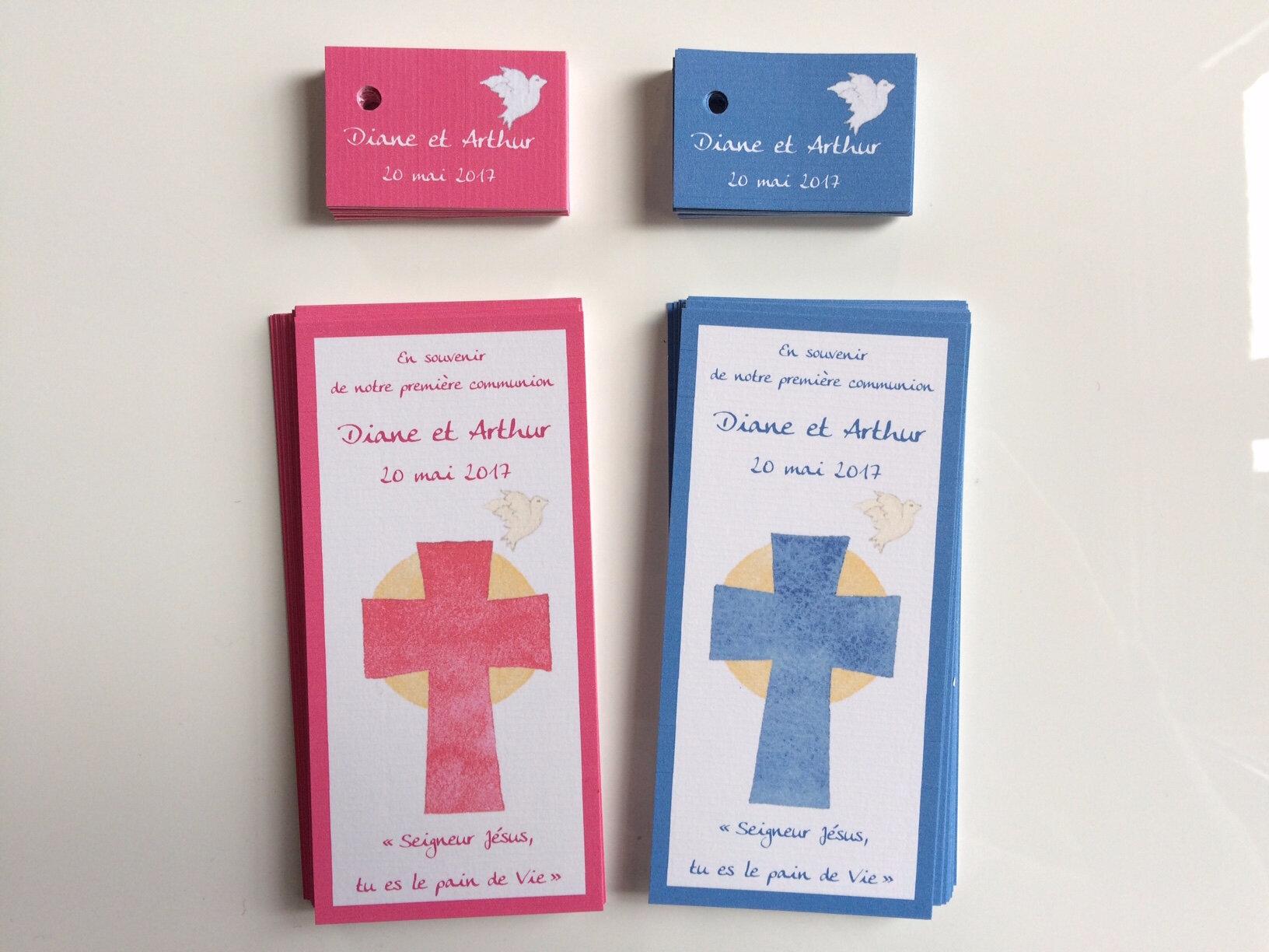 Signets de communion et étiquettes dragée Diane et Arthur 200517