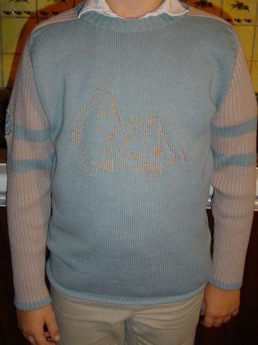 2005 09 - Broderie sur pull, modèle site Mauricette