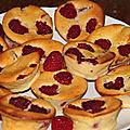 Muffins au fromage blanc et aux framboises