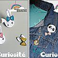 Bijoux Enfant Kawaii, Têtes Animaux + Noeuds, Collier, Pendentif, Broche au crochet et Plastique dingue à paillettes, Fait main, Little Curiosité (1)
