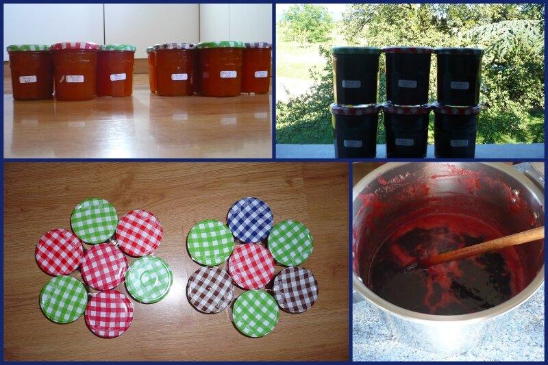 Confiture d'abricots et confiture de fraise