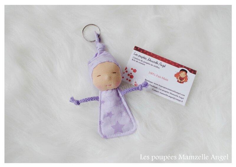 porte clé poupée Tit'Chouquettes Etoiles Violettes