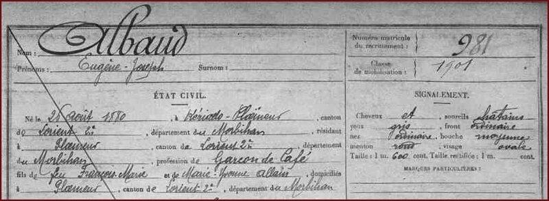 ALBAUD Eugène Joseph - Fiche Matricule - AD56