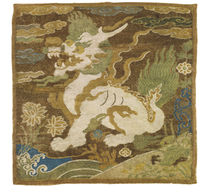 A very rare Ming embroidered 'xiezhi' rank badge, buzi, Early Ming dynasty, 15th century