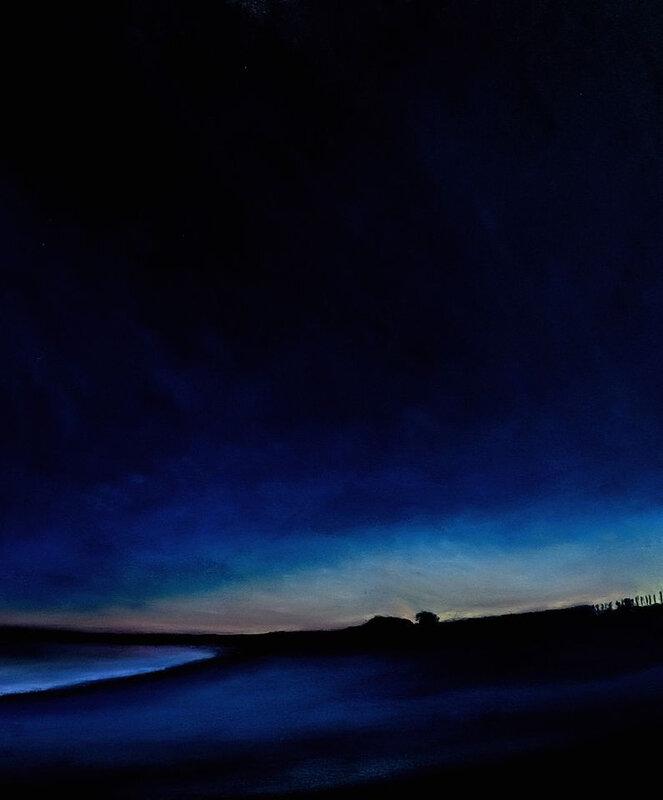 Plage de Landrezac à l'heure bleue, pastel à l'huile, 40 x 32 cm, mai 2020