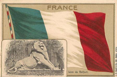 CPA Belfort Lion & drapeau français 1